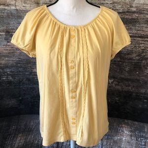 🛍 5/$30 Rebecca Malone yellow boho blouse